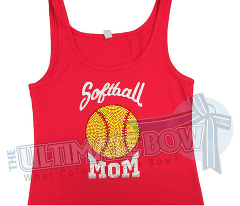 Softball Mom Rhinestone Tank Top