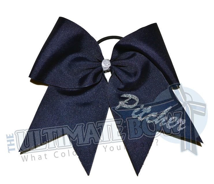 softball-position-hair-bow-ribbon-black-silver-pitcher