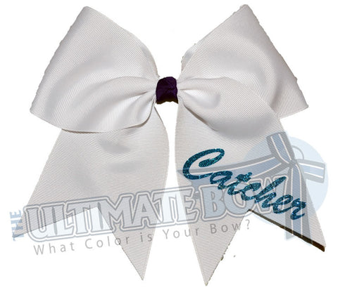 softball-position-hair-bow-ribbon-white-turquoise-silver