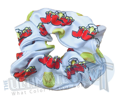 Softball Scrunchies | custom printed scrunchies | sublimate scrunchies | logo scrunchies | two color logos | JCS Softball Team