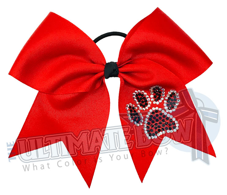 Paw Print Cheer Bow | Black and Red Cheer Bow | superior-rhinestone-paw-print-black-clear-crystal-cheer-bow | Georgia Bulldogs
