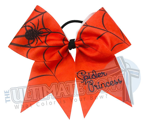 Spider Princess Cheer Bow | Orange and Black Cheer Bow | Halloween Cheer Bow