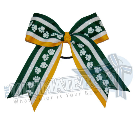spirit-paw-print-ribbon-forest-green-yellow-gold-white-sequins