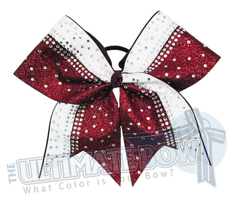 Maroon and White Glitter Cheer Bow | Rhinestone and Glitter Cheer Bow | Competition Glitter Cheer Bow