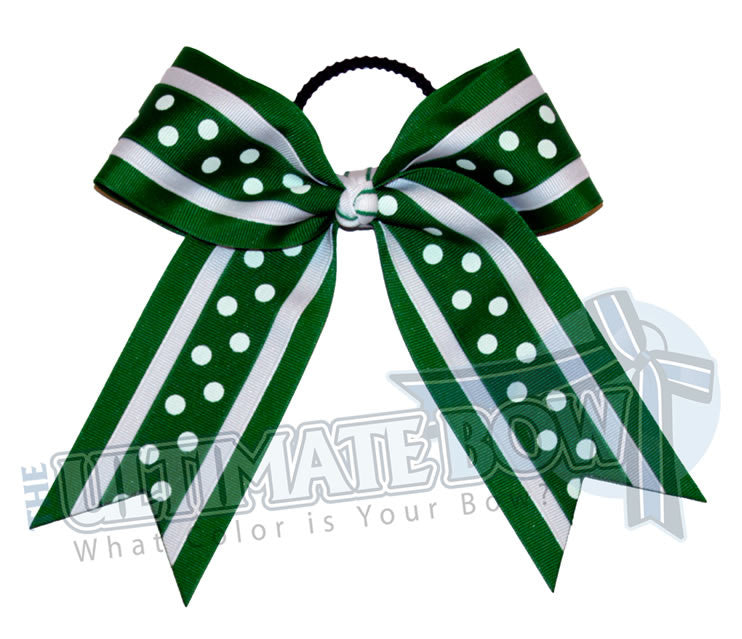 Sprinkle-dots-cheer-bow-emerald-green-white-polka-dots