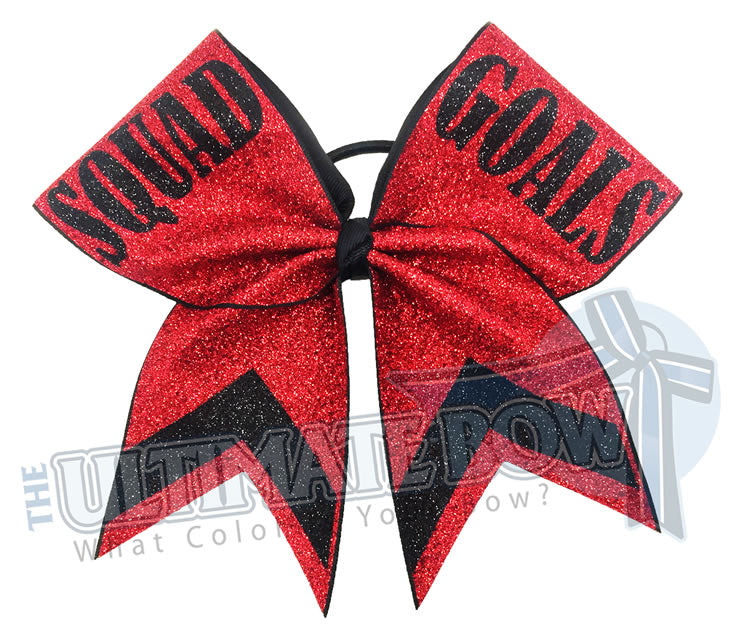 squad goals cheer bow full-glitter-personalized-cheer-bow-squad-goals-red-black