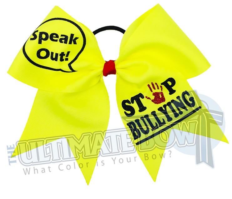 Speak out - Stop Bullying Cheer Bow - Stop Bullying Neon Yellow Bow - social awareness cheer bows