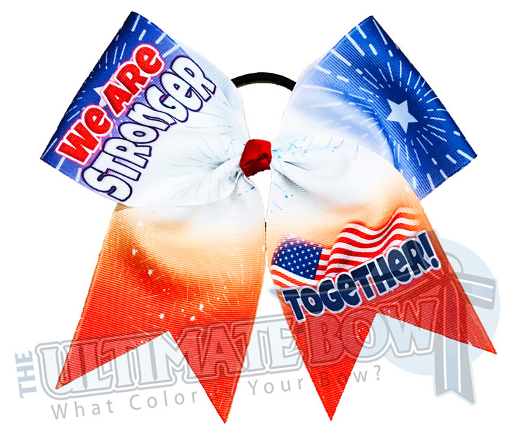 We are Stronger Together Cheer Bow | USA Cheer Bow | USA Pride Cheer Bow | Sublimated USA Cheer Bow