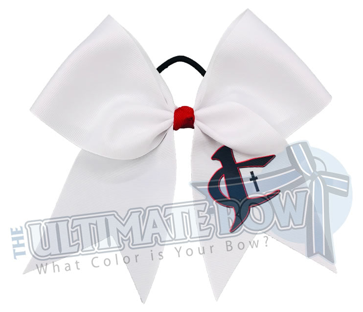 sublimated logo cheer bow | personalized cheer bow | custom logo | white logo cheer bow | softball | Sports hair bow