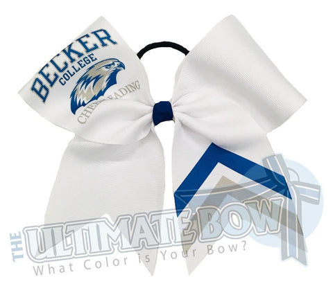 sublimated logo chevron cheer bow | personalized cheer bow | custom logo | white logo cheer bow | softball | Sports hair bow | Becker College