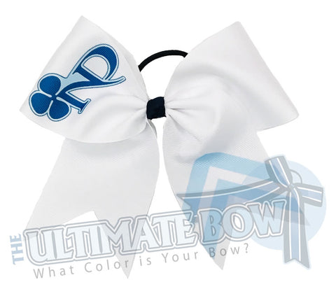 sublimated logo chevron cheer bow | personalized cheer bow | custom logo | white logo cheer bow | softball | Sports hair bow