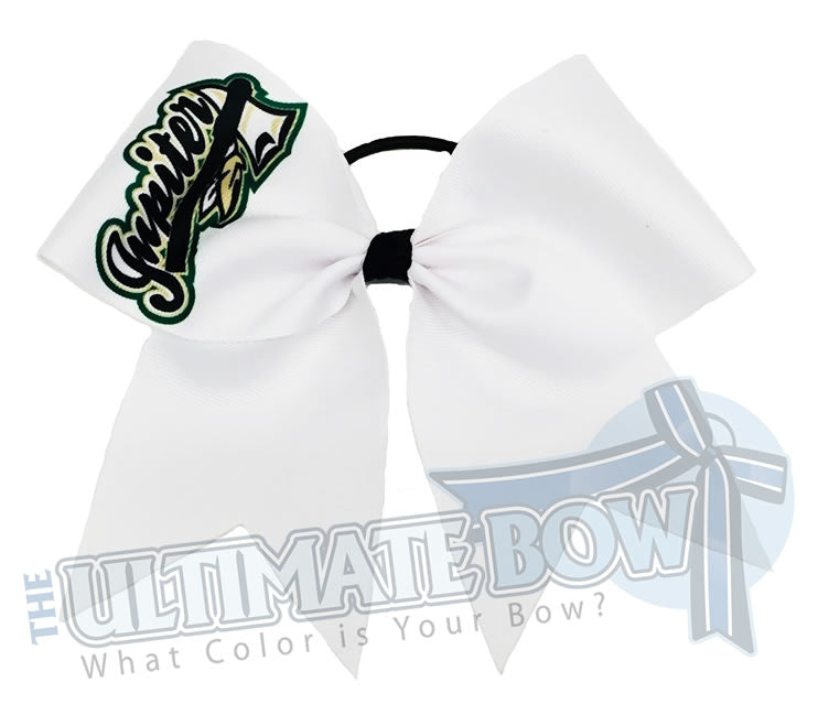 sublimated logo loop cheer bow | personalized cheer bow | custom logo | white logo cheer bow | softball | Sports hair bow