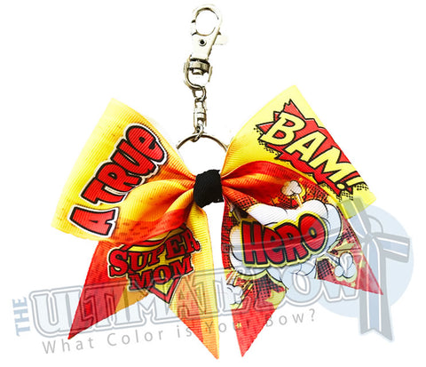 Super Mom - A True Hero Key Chain Bow | Mothers Day Keychain Bow