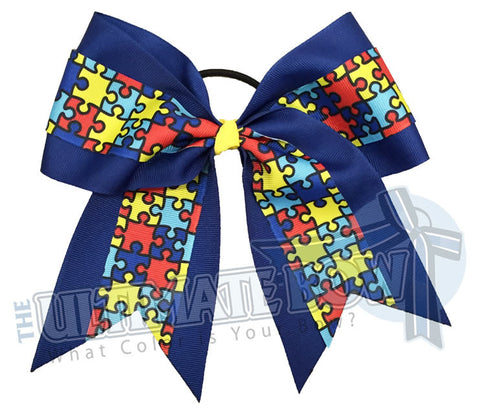 Superior Autism Awareness Cheer Bow | Autism Cheer Bows