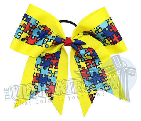 Autism-Awareness-cheer-bow-softball-autism-speaks-Puzzle-piece-yellow