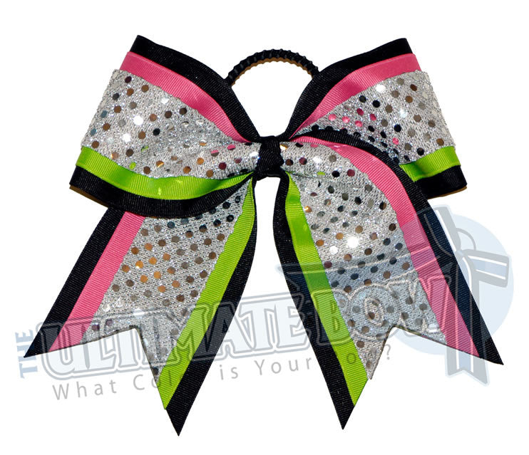 superior-double-down-cheer-bow-black-hot-pink-neon-green-silver-sequin-dots