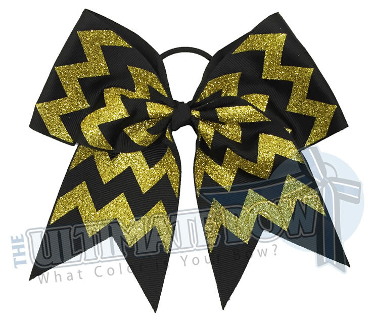 glitter-chevron cheer-bow-black-yellow-gold-glitter-softball-spark