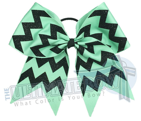 glitter-chevron cheer-bow-mint-black-glitter-softball-sparkle