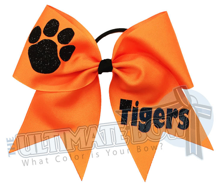 Superior-texas-sized-glitter-paw-print-cheer-softball-bow-orange-black-tigers