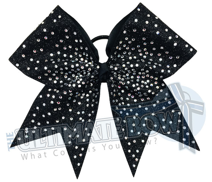 rhinestone-glitter-black-crystal clear rhinestones -cheer-bow-full-glitter-cheerleader hiar bow