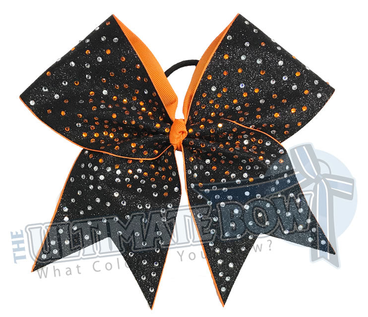Superior Glitter Rhinestone Blast Cheer Bow | Black and Orange Cheer Bow | Orange Rhinestones | Glitter Competition Bow