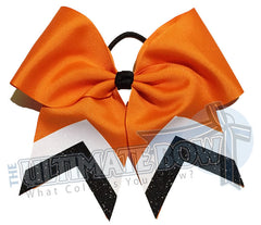 sidleine-glitter-stripes-orange-black-white-cheer-bow-glitter-varsity-cheer-softball-school-recreational-cheer