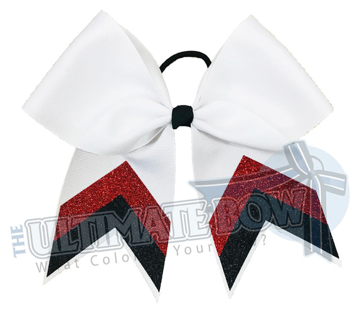 Customizable Volleyball Chevron Hair Bow Clip for Girl in Red and Black