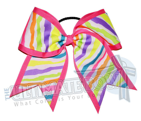 Neon Zebra Cheer Bow | Cheer Camp Bow | Softball Bow