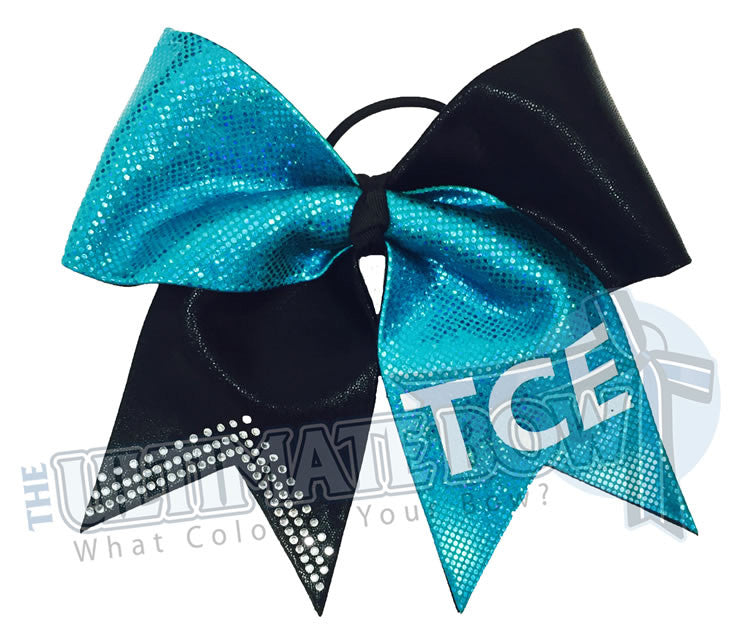Personalized-cheer-bow-rhinestone-glitter-custom-personal-team-bows-softball-black-mystic-diva-teal-prima-donna