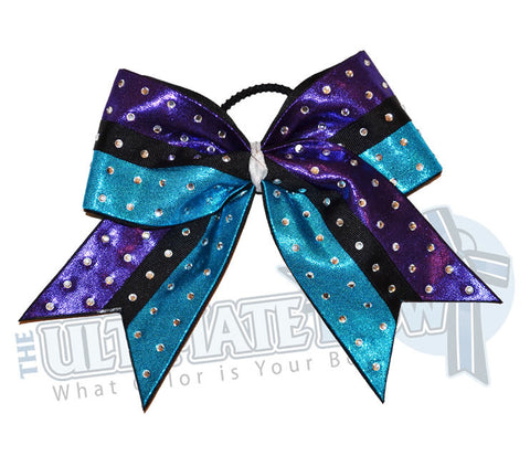 Superior-rhinestone-intensity-cheer-bow-purple-turquoise-black