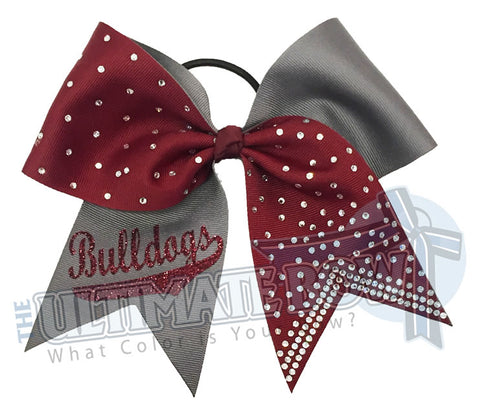 Superior-rhinestone-lineup-currant-maroon-grey-pewter-bulldogs-glitter-personalized-softball-bow-rhinestone-bow-practice-bow