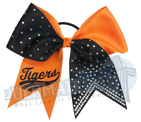 Superior-rhinestone-lineup-orange-black-tigers-glitter-personalized-softball-bow-rhinestone-bow-practice-bow