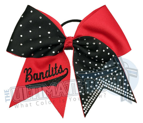 Superior-rhinestone-lineup-red-black-bandits-glitter-personalized-softball-bow-rhinestone-bow-practice-bow