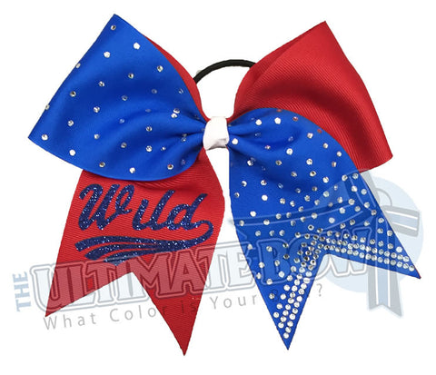Superior-rhinestone-lineup-red-electric-blue-Wild-glitter-personalized-softball-bow-rhinestone-bow-practice-bow