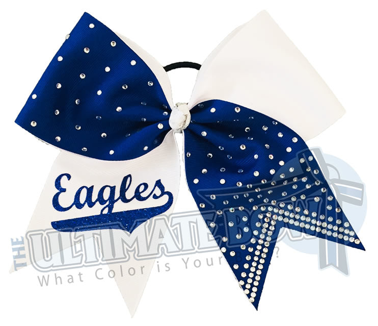 Superior-rhinestone-lineup-white-royal-blue-eagles-glitter-personalized-softball-bow-rhinestone-bow-practice-bow