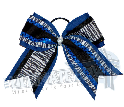 superior-zebra-twist-black-white-royal- blue-sequins-cheer-bow