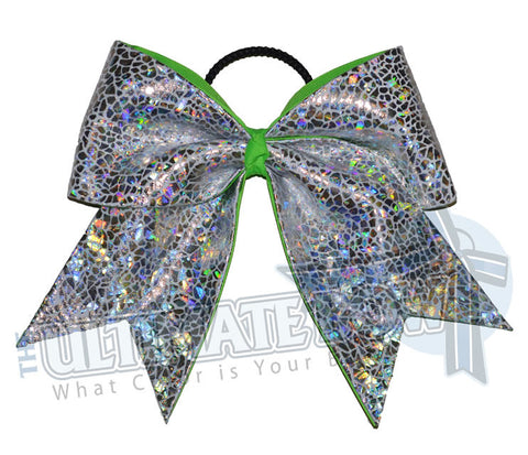 silver-seaglass-holographic-cheer-bow-neon-green-avatar