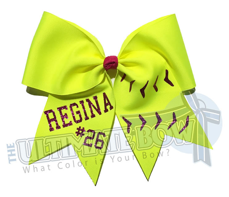superior-softball-team-name-number-laces-neon-yellow-red-glitter-bow