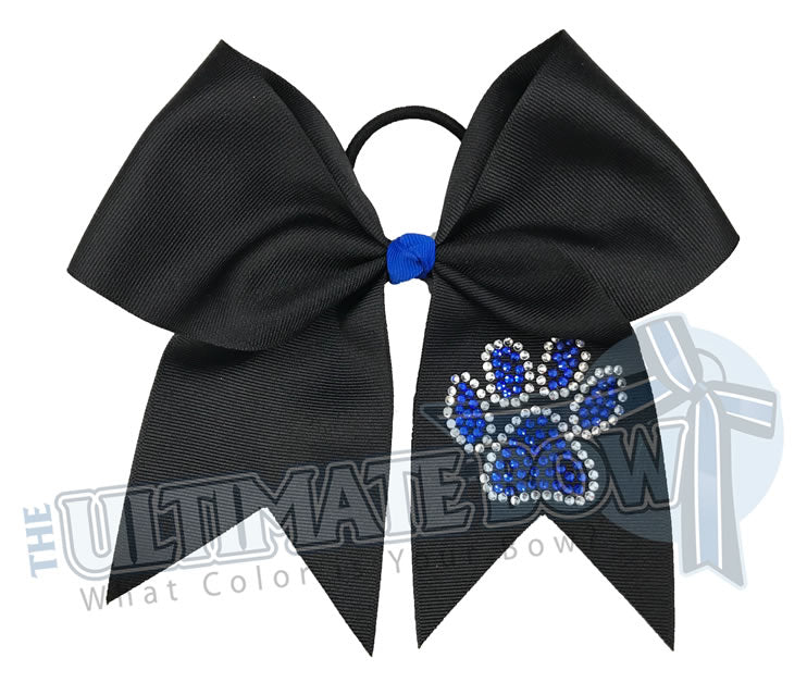 Paw Print Cheer Bow | Black and Royal Cheer Bow | superior-rhinestone-paw-print-black-cobalt-crystal-cheer-bow
