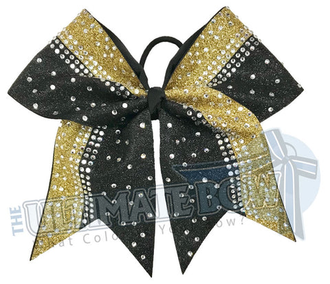 Gold and Black Glitter Cheer Bow | Rhinestone and Glitter Cheer Bow | Competition Glitter Cheer Bow