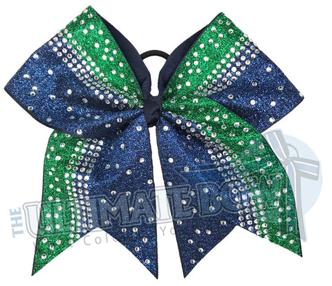 Navy and Emerald Glitter Crystal Rhinestone Cheer Bow | Rhinestone and Glitter Cheer Bow | Competition Glitter Cheer Bow