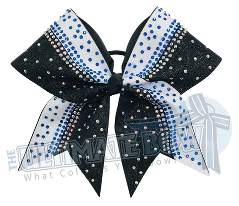 White and Black Glitter Cobalt Rhinestone Cheer Bow | Rhinestone and Glitter Cheer Bow | Competition Glitter Cheer Bow
