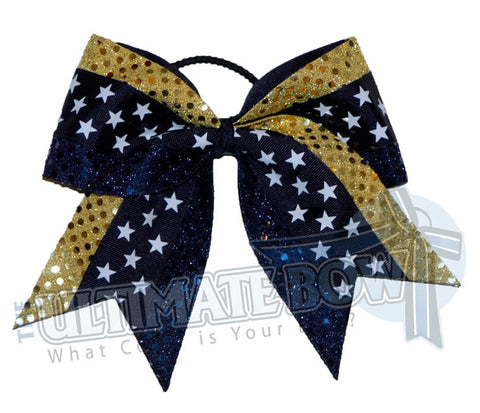 Superior-star-burst-gold-navy-sequin-dots-navy-stars-cheer-bow