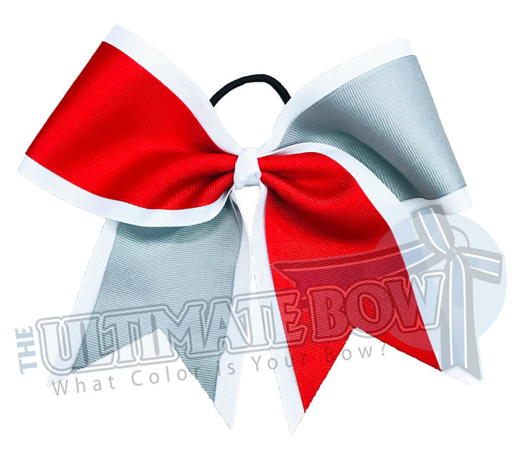 Superior Summer Splits Cheer Bow | Red and Silver Cheer Bow | Solid Ribbon Cheer Bows | White, Red and Silver Softball Bows