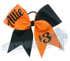 Superior-teamwork-orange-black-glitter-personalized-cheer-bow-softball-bow-practice-bow