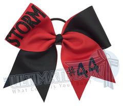 Superior-teamwork-red-black-glitter-personalized-cheer-bow-softball-bow-practice-bow
