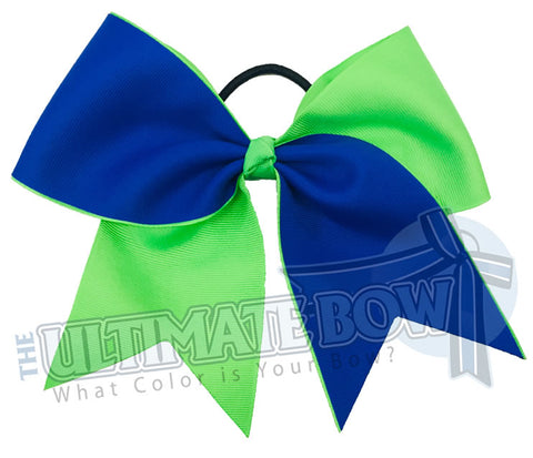 Superior-essentials-electric blue - neon green -cheer-sideline-football-softball-bow-practice-bow