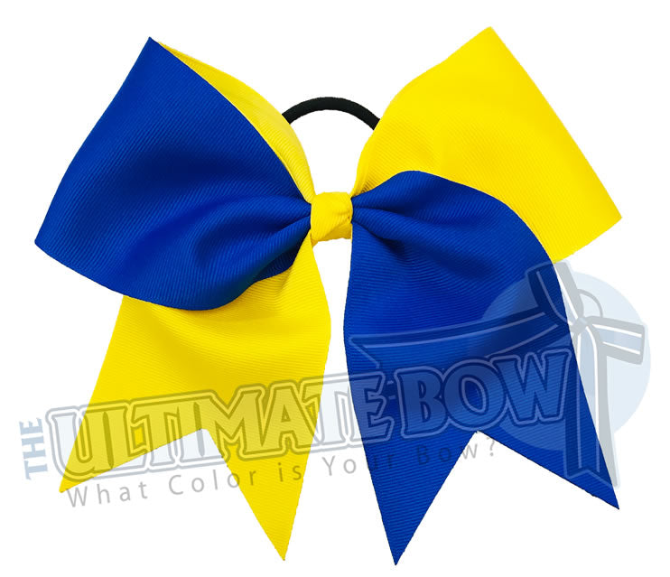 Superior-essentials-electric blue - sunshine yellow -cheer-sideline-football-softball-bow-practice-bow