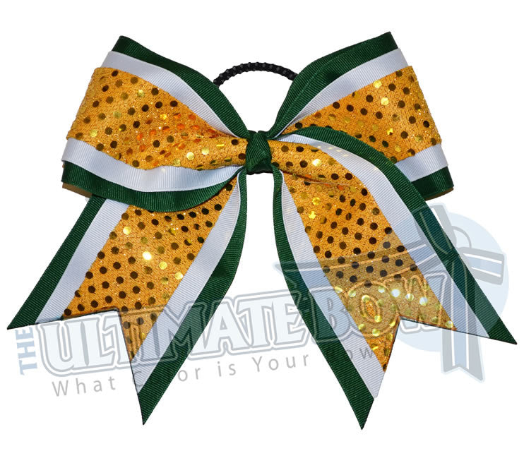 superior-vibrant-sequins-cheer-bow-forest-green-white-yellow-gold-sequin-dots