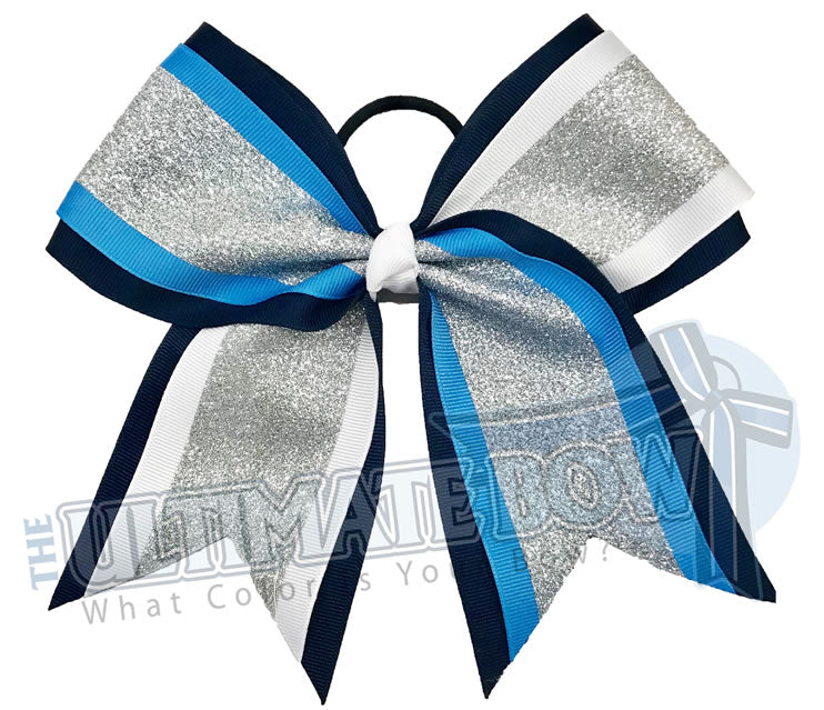 Switch-Up Glitter Cheer Bow | Football Cheer Bow | Navy Silver Copen Columbia Blue Cheer Bow | Sideline Cheer Bow | Pep Rally Cheer Bow